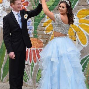 Blue Sherri Hill Two Piece Prom Dress